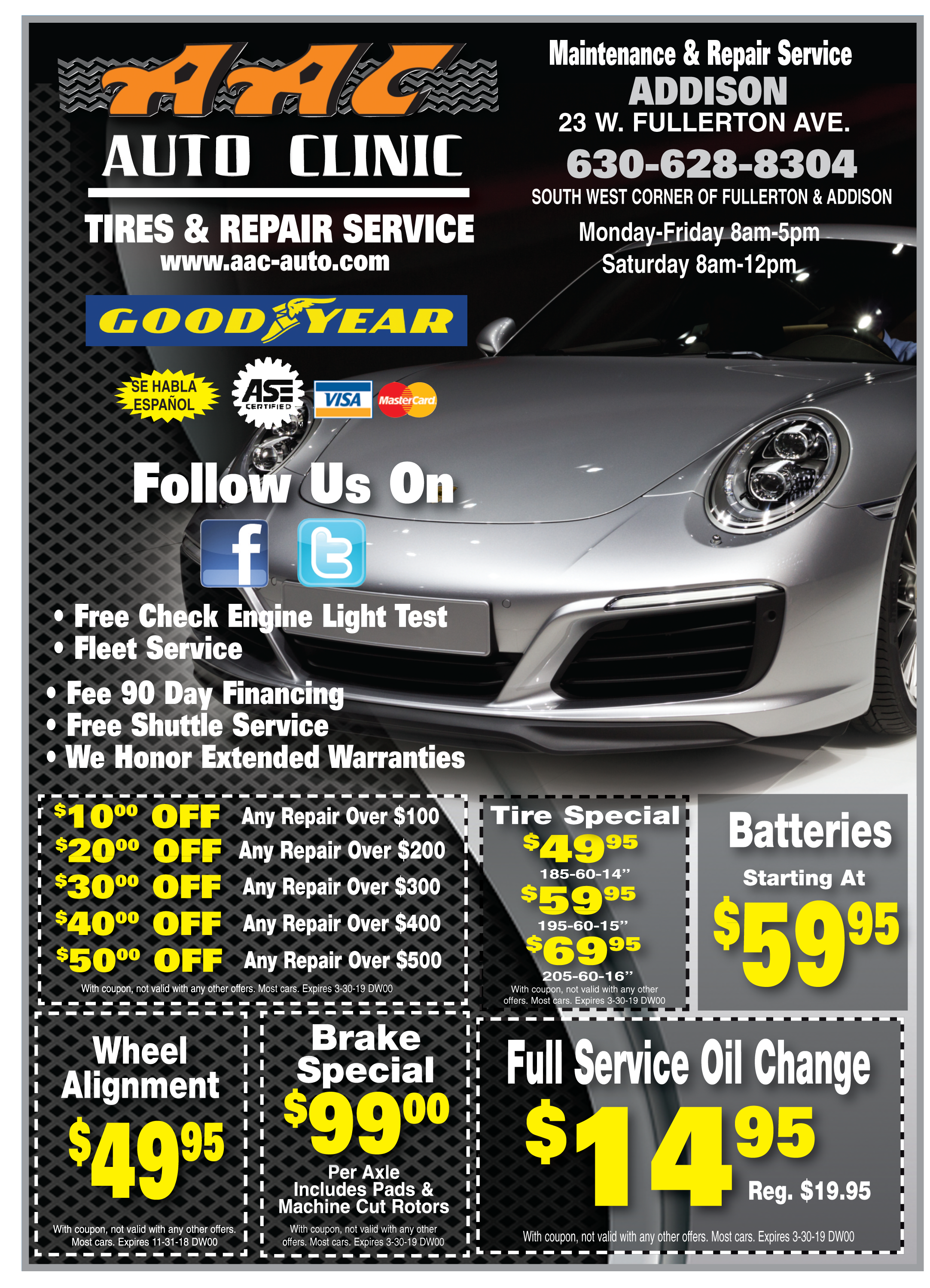 Car Alignment Coupons >> Special Deals Aac Auto Clinic